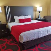 hotel room with bed, red bed spreads